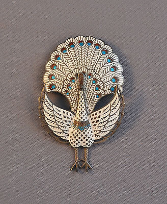 VINTAGE STERLING SILVER PIN - ENAMEL CLOISONNE - HINGED - WHITE PEACOCK - 3