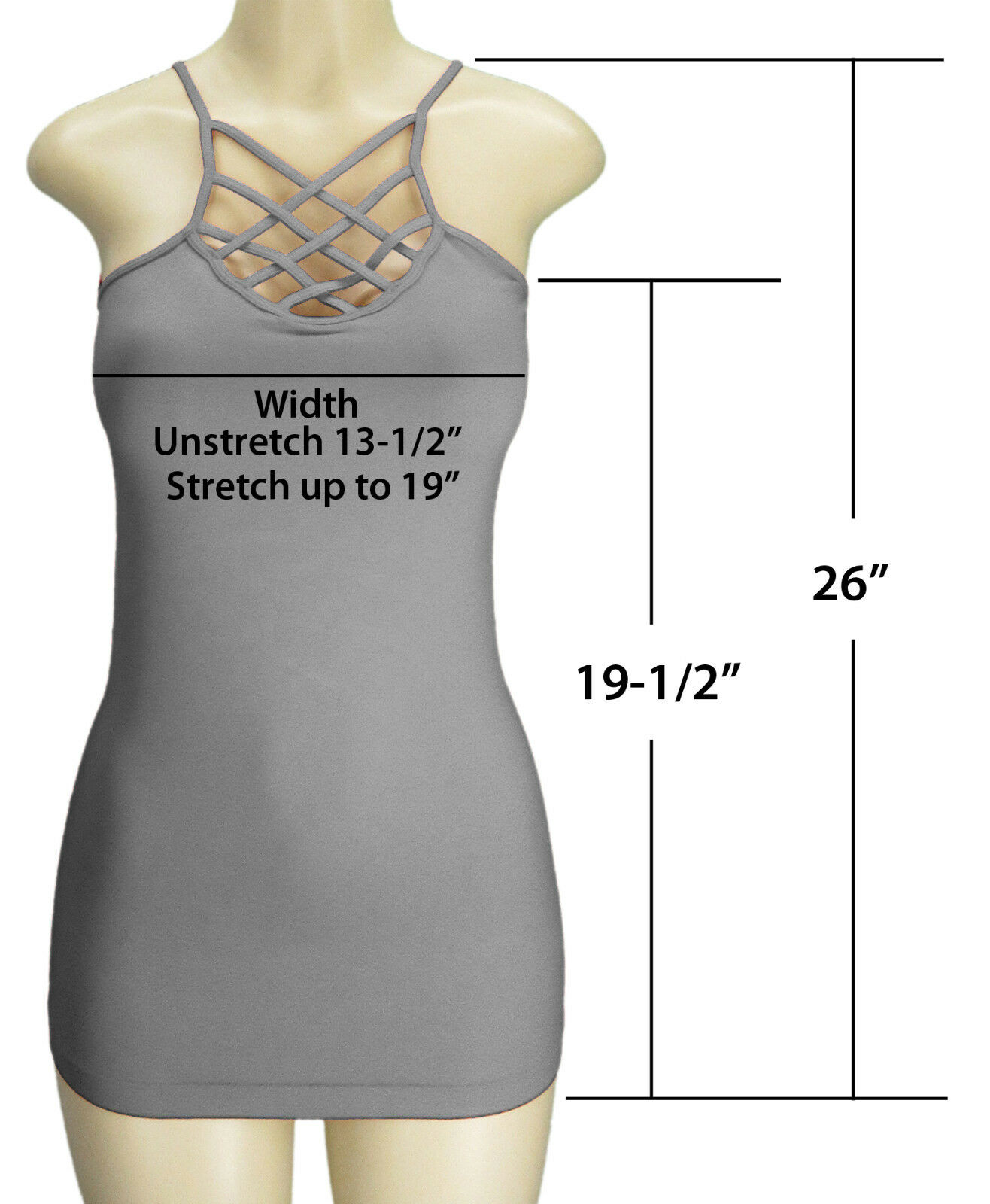 Criss Cross Strappy Caged Reversible Front or Back Stretch Cami Camisole Tank Clothing, Shoes & Accessories
