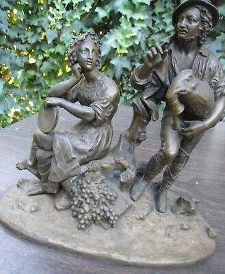 vintage brass sculpture man and woman mantle clock part