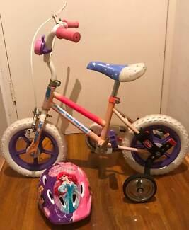 GIRLS BICYCLE 12IN 30CM BIKE CYCLING  WITH DISNEY PRINCESS HELMET