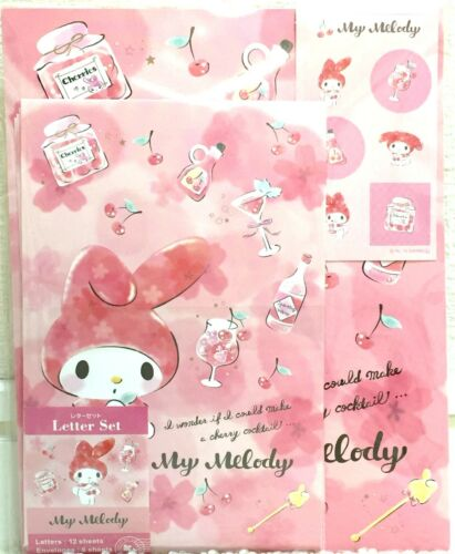 Sanrio My Melody Writing Paper Letter 12 & Envelope 6 Sticker SET MADE IN JAPAN
