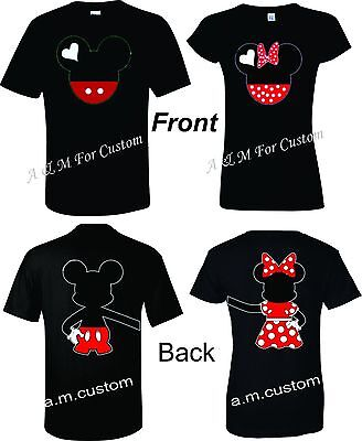 Mickey and Minnie Disney Holding hands Couple matching funny cute TShirt S-4XL - Funny Couples