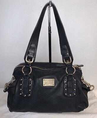 Michael Kors Purse Black Leather Barrel Bag Clutch Satchel