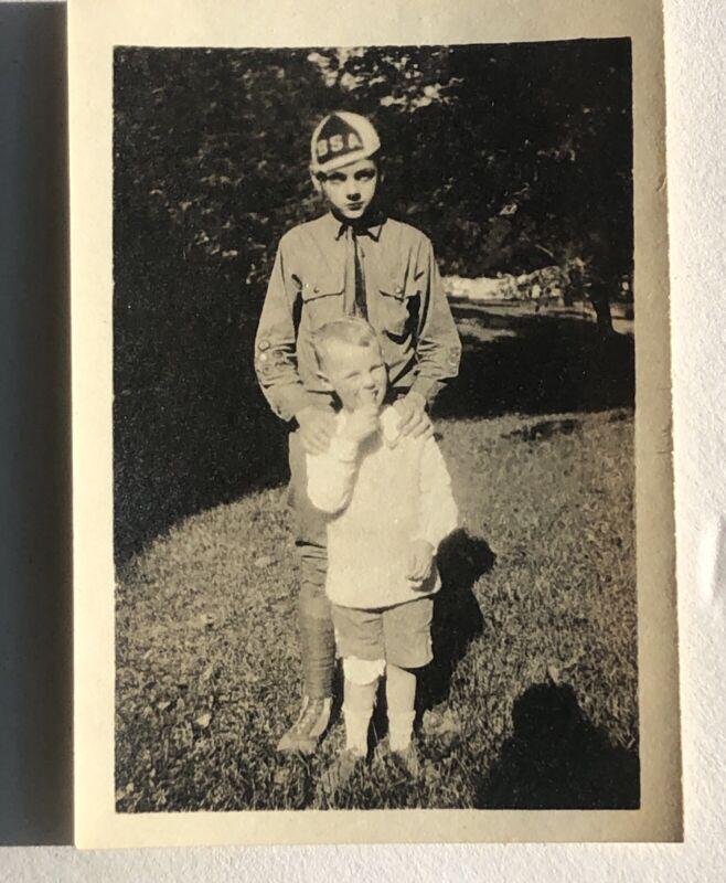 """RARE Antique Boy Scout 1919 Photo BSA Hat Uniform 3.5"""" x 2.5"""" Ohio"""