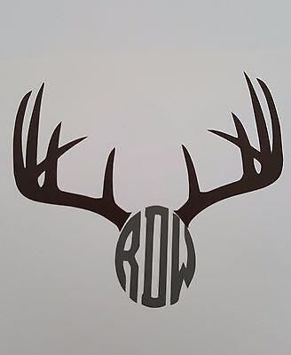 Custom Monogrammed Deer Antlers Decal Deer Antler Vinyl Decal Yeti Cup Window