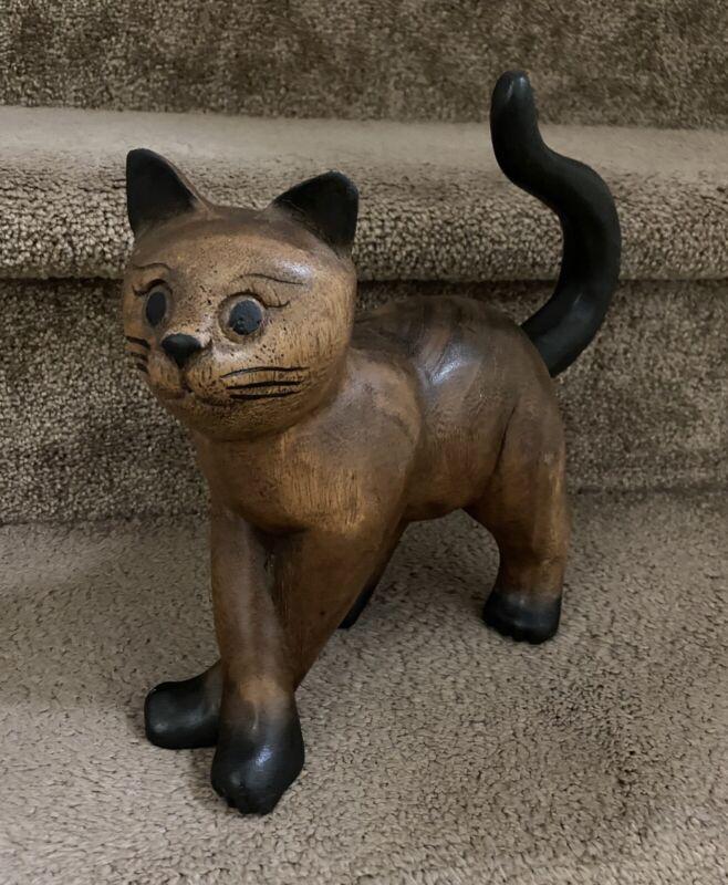 "Vintage 10"" L x 9"" T  Wooden Cat Figurine Hand Carved Art"