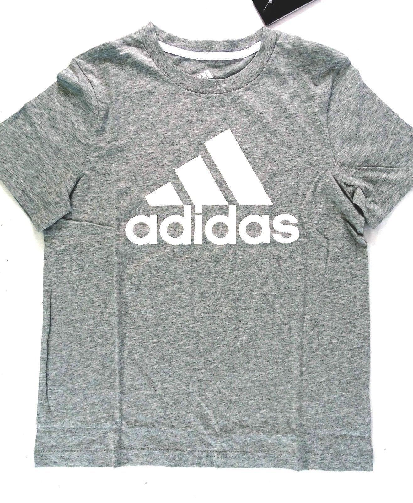 NEW Adidas Girls' Short Sleeve Cotton Tee - Grey Heather S-8