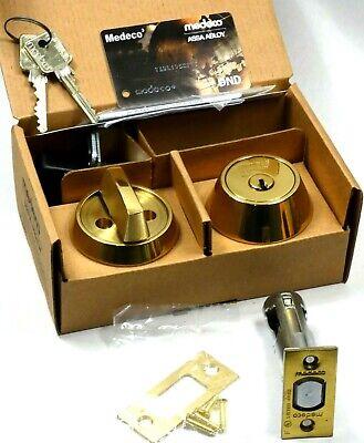 Medeco Maxum Commercial Single Cylinder Deadbolt 2-38 605 Bright Brass 4-keys