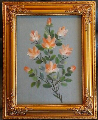 Gold Framed Vintage Paradise Pictures - Feather Flower Craft -  Beautiful Frame