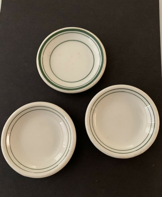 Set of 3 vintage Ironstone Green & White Chunky BUTTER PATS~Restaurant style