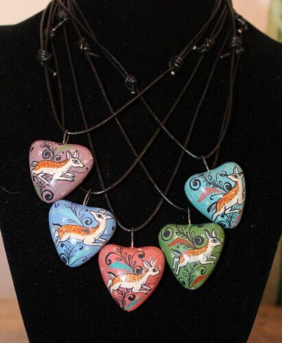 Deer Heart Necklace Handmade Hand Painted Pottery Tonala Mexican Folk Art Love