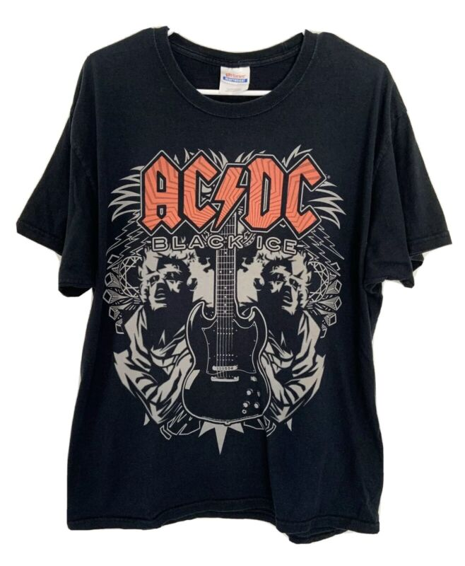 Vintage AC/DC Mens 2008 Black Ice T-Shirt Tee Original Hanes Tag Size XL
