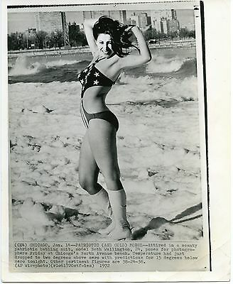 1972 Swimsuit Women's Fashion Press Photo Beth Wellington 38-24-36