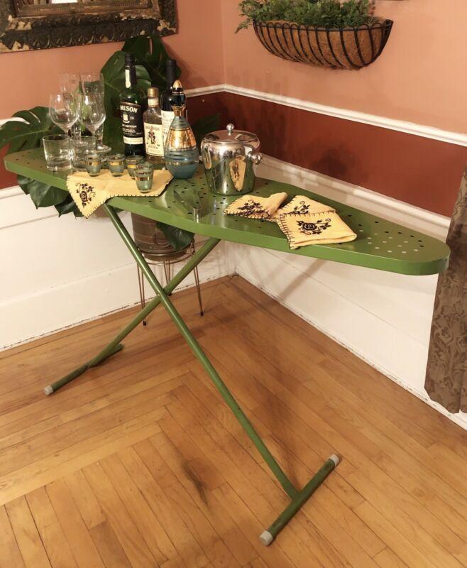 "VTG Green Mid Century Modern Metal Ironing Board Folding 54"" Cocktail Drink Bar"