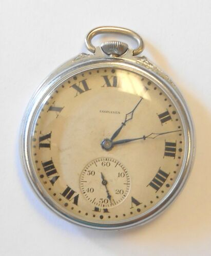 Vintage Longines Mens Pocket Watch Open Face Serial #2828456 21 Jewel