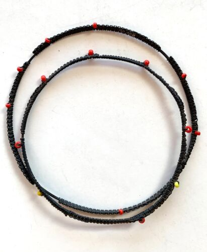 Pair Antique Vintage Elephant Hair with Seed Bead Bracelet Armlet - Red Yellow