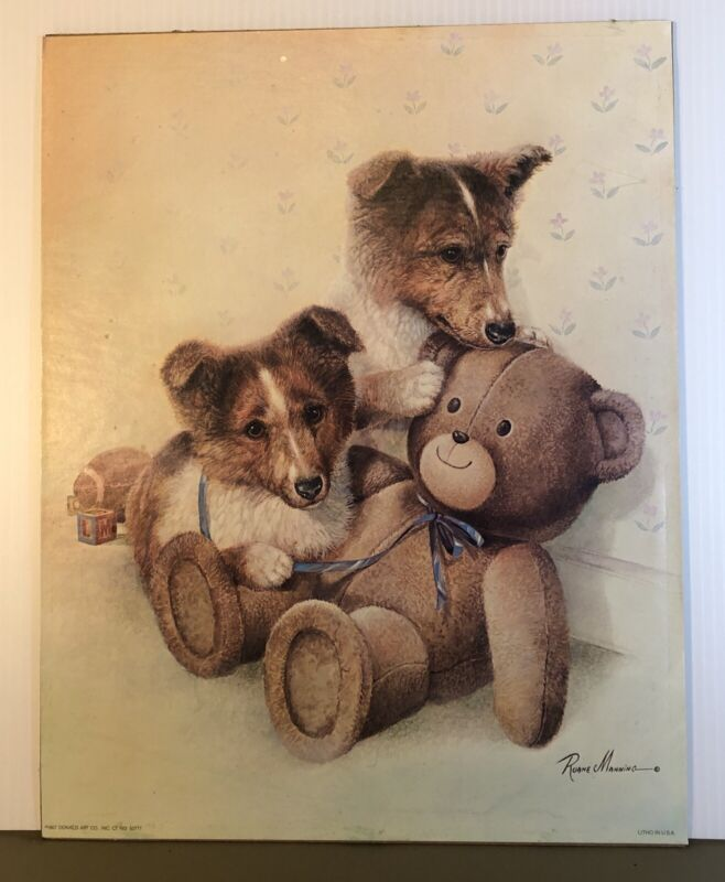 Collie Puppies with Teddy Bear Vintage Ruane Manning Litho Lithograph on Board