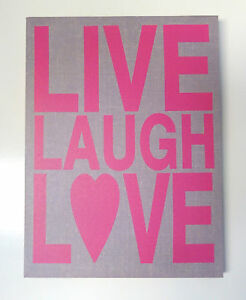 Canvas Print Quote Live Laugh Love Pink Beige Light Grey Ready to Hang 30x40cm