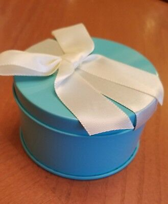 12 Tiffany Blue Round Tin Party Favor Boxes Wedding, Baby Shower, Jewelry, Candy (Tiffany Baby Jewelry)