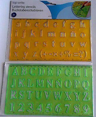 Schablone 2er Alphabet + Zahlen Buchstaben Schrift ABC Zeichenschablone malen ()