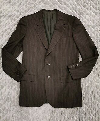 Brioni Italy Charcoal Gray Pinstripe Wool Suit 2 Button 42L Pants 34x32