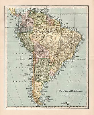 1900 Ca ANTIQUE MAP SOUTH AMERICA