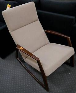 New Timber Beige Fabric Scandi Style Lounge Rocking Chair Melbourne CBD Melbourne City Preview