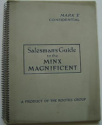 Hillman Minx Original UK confidential Salesmans Book No. 138/10/51  Mk V 1951
