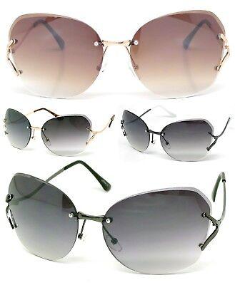 New Womens Eyewear Fashion Designer Rimless Sunglasses Shades Large (Designer Rimless Eyewear)