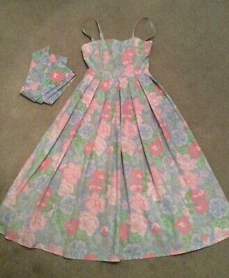 Laura Ashley 1980s Vintage Cotton Floral Summer Strappy Dress UK Size 10
