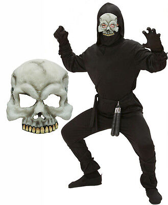 Samurai Kids Kostüme (Boys Kids Ninja Fancy Dress Halloween Costume Samurai Karate + Skull Mask 5-13)