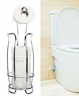 Chrome Plated Toilet Paper Holder Stand / Dispenser with Shelf, 4 Rolls Holder