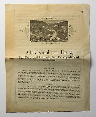 Orig Prospekt Alexisbad im Harz um 1880 Selketal Sachsen-Anhalt Harzgerode xz