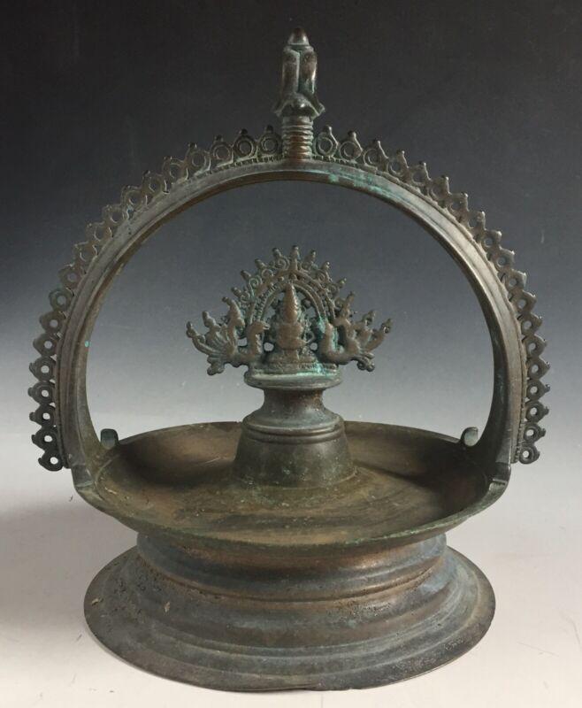 Antique Vintage bronze Hindu temple Shiva Linga Lingam hanging oil lamp