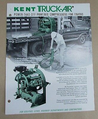 Kent Air Tool Truck-air Power-take-off Truck Compressors 1 Page Brochure Free Sh