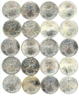 1 Roll    2000 American Silver Eagle Bullion Coins    Break Even Price  B