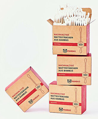 99PANDAS® Nachhaltige Bambus Wattestäbchen (800 Stück) | 100%Natur & plastikfrei