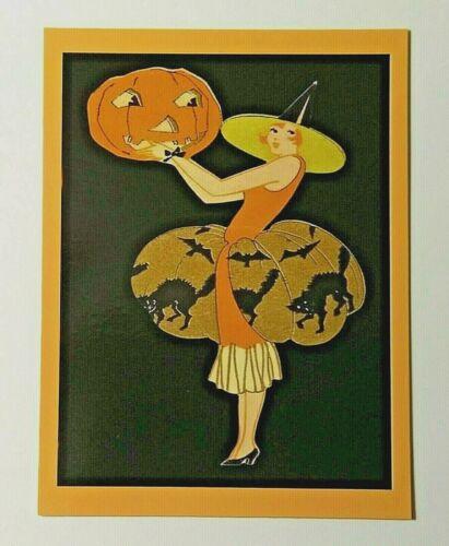 *UNUSED* Halloween Postcard: Art Deco Witch & J-O-L Vintage Image~Reproduction