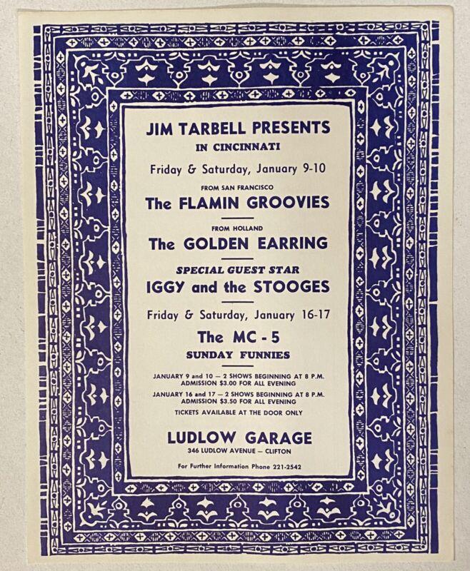 MC5 STOOGES GOLDEN EARRING Ludlow Garage 1970 CONCERT FLYER Mint FLAMIN GROOVIES