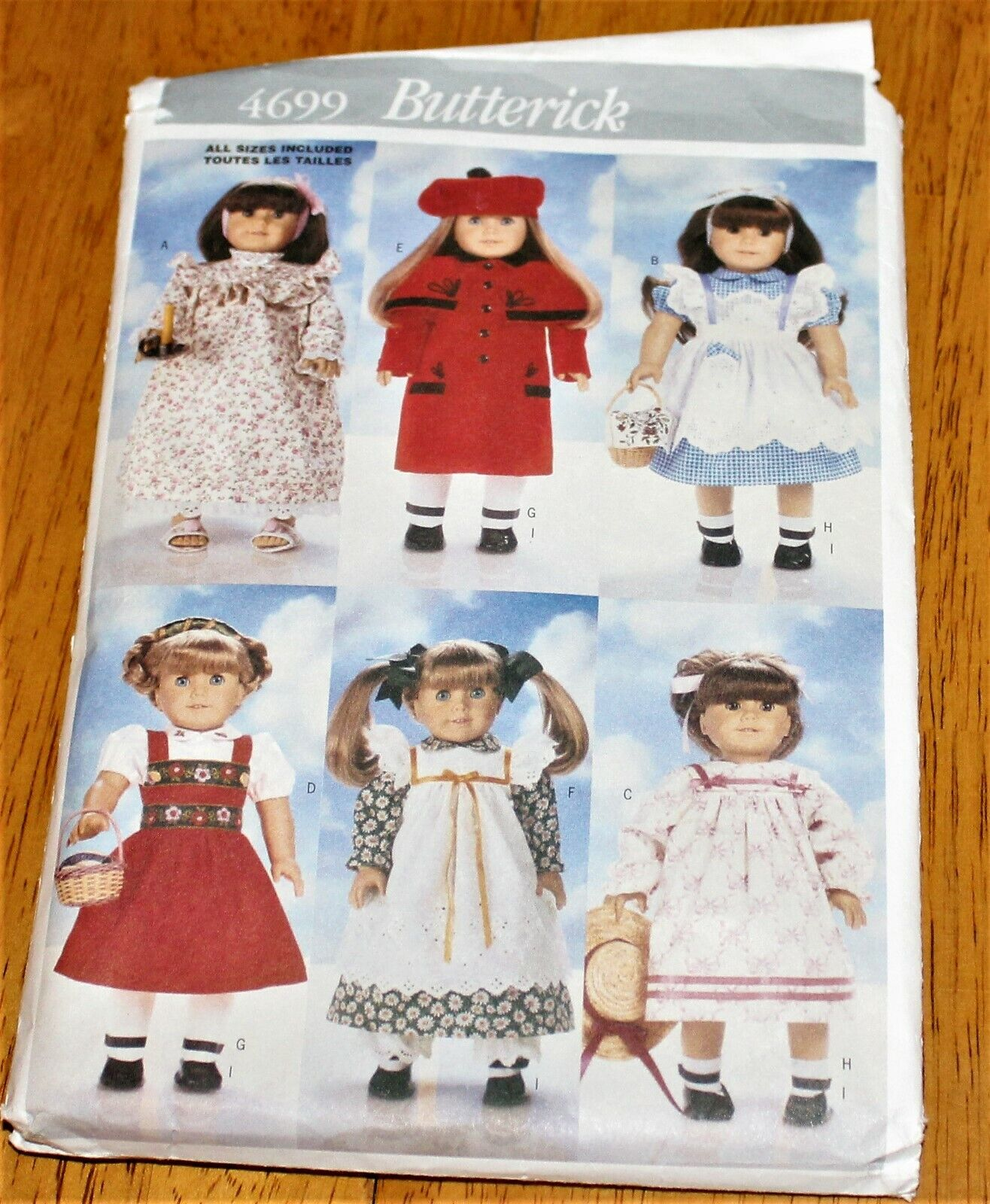 Butterick Pattern 4699 - CLOTHES WARDROBE FOR 18 DOLLS - Pre-cut 6 Designs Guc - $2.99