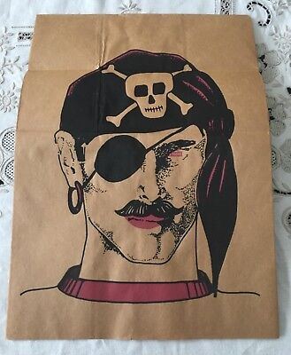 Vintage Topstone Brown Paper Bag Halloween Mask Pirate Man Folded Unused - Paper Bag Halloween Mask