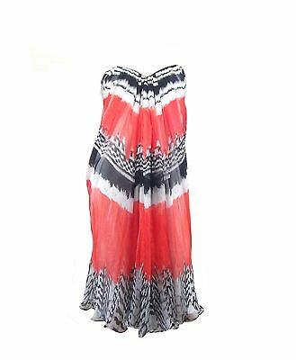 Alexander McQueen Feather Print Strapless Chiffon Bustier Dress Size 44 $5200