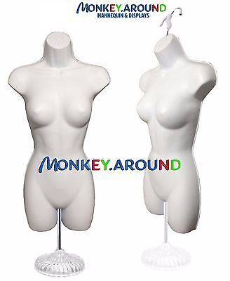 Female Mannequin Form Hanger Stand - Body Torso Display Shirt Dress - White