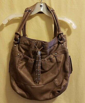 B. Makowsky Taupe Glove Leather Drawstring Tote/Handbag w/Tassel & Stud Detail for sale  Arlington