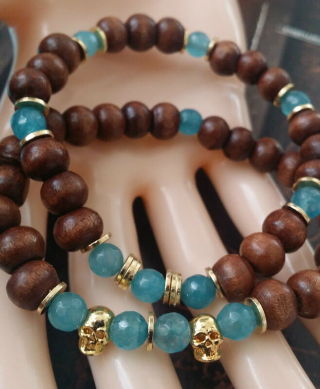 SET 2pc Gold Vermeil SKULL Wooden Beaded Bracelet Blue KARMA Jade Valentine