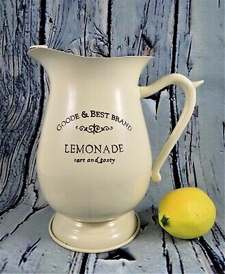 Enamelware Reproduction Farmhouse Lemonade Pitcher Beige Goode & Best Brand 2
