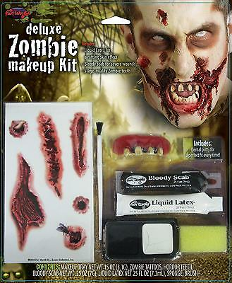 ZOMBIE DELUXE MAKEUP KIT FACE PAINT TEETH LATEX BLOODY SCAB COSTUME FW9488 (Latex Zombie Makeup)