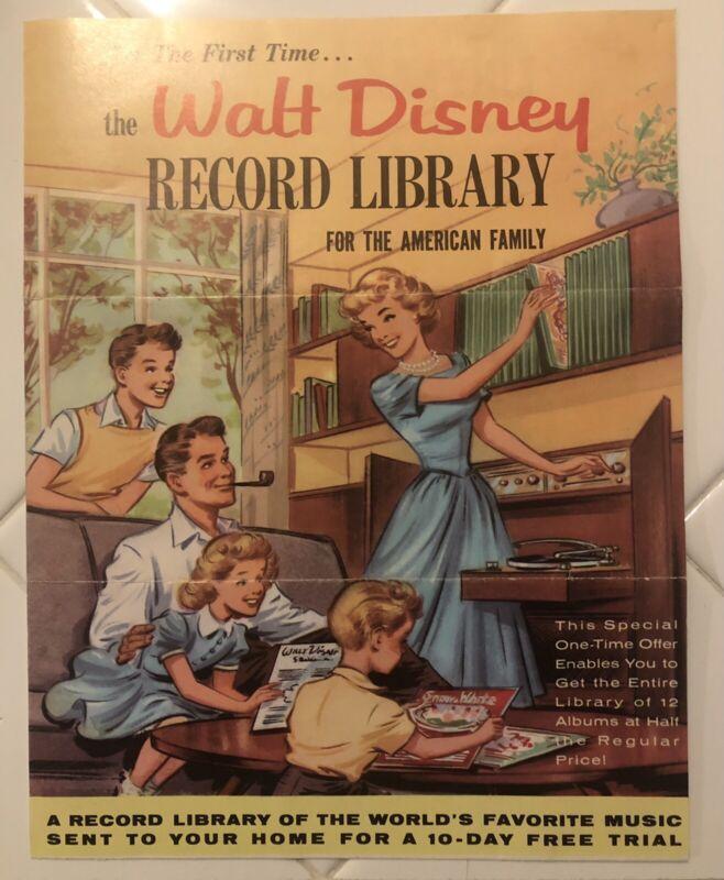 1961 Disneyland Record Library Brochure Rare With Return Envelope!