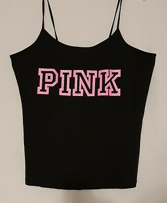 PINK Victoria Secret cami LOGO top women s bling Neon Pink glitter black shirt