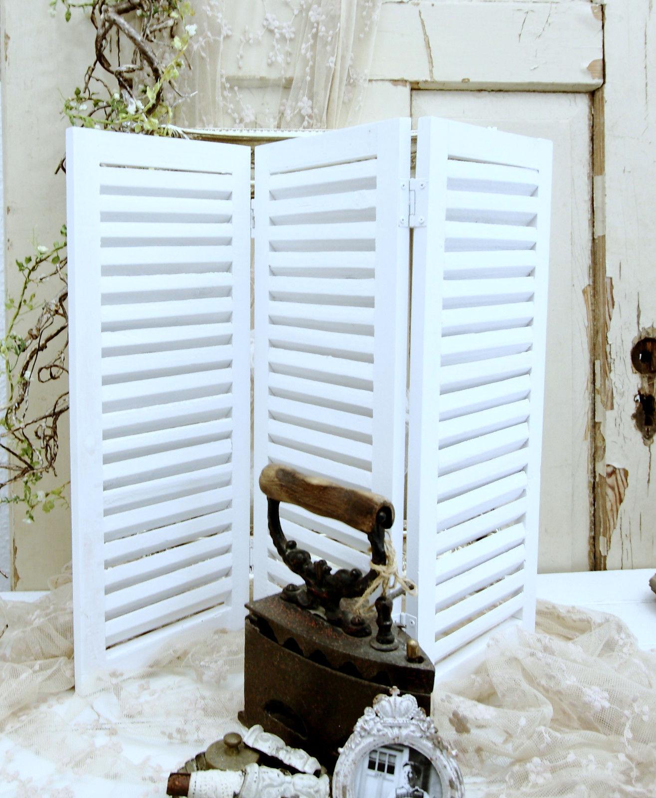 3 teiliger Paravent Fensterladen Holz Weiß Shabby Vintage Landhaus Patina Deko